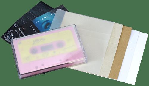 Audio cassette case J-card material options