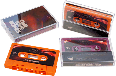 Retro orange and blackberry purple audio cassette tapes