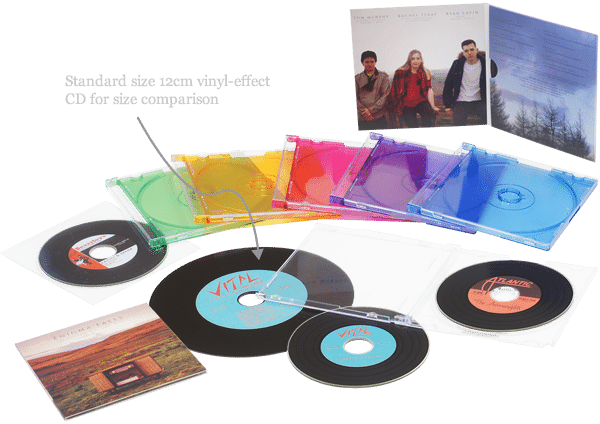 vinyl record cds in card wallets