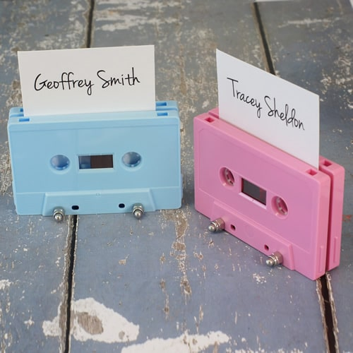 Baby pink and baby blue cassette tape name place holders