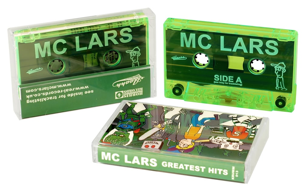 Transparent green cassettes with white on-body printing