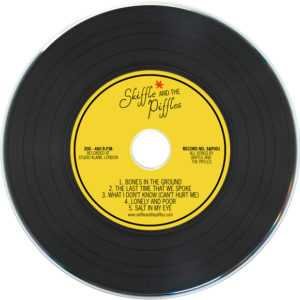 Black vinyl CDs with yellow printed label
