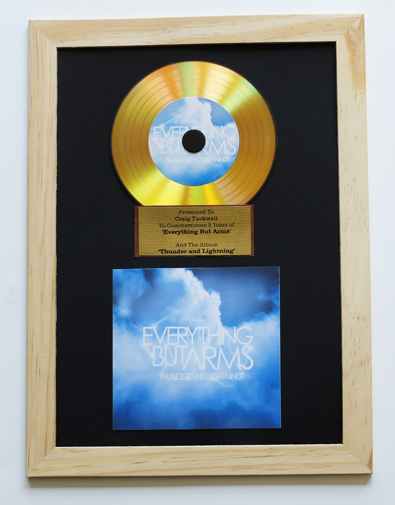Gold vinyl CDs in an award mount