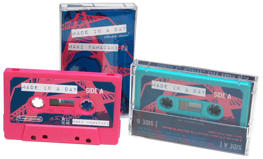 Hot pink and turquoise cassettes with full colour sticker printing and matching J-cards