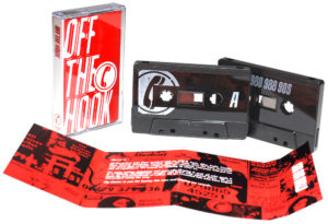 Black cassettes with white on-body printing and full colour cassette case J-cards with two extra fold-out panels
