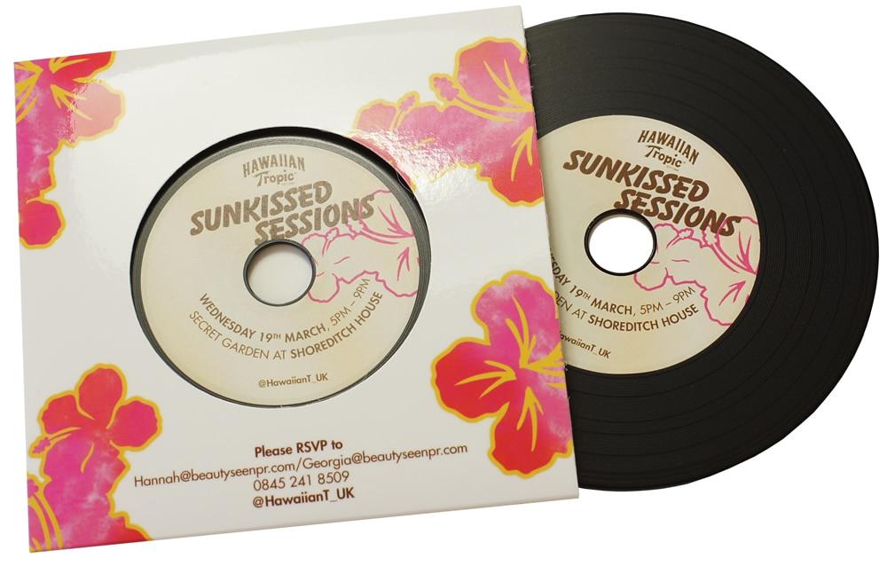 Black vinyl CD in printed card wallet
