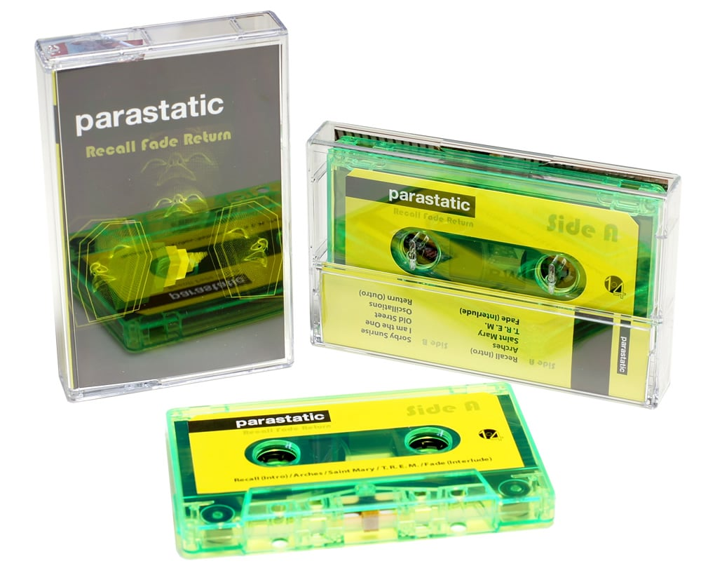 An eye-catching transparent green cassette with yellow and black artwork