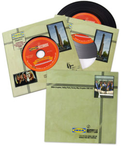 Black vinyl DVD in a printed card record-style walletBlack vinyl DVD in a printed card record-style wallet