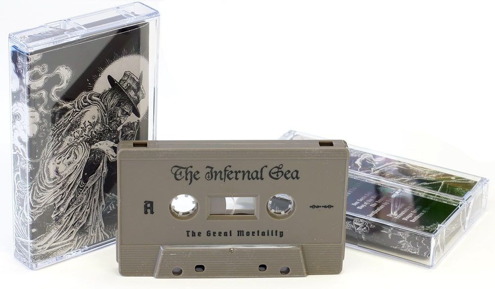 Cocoa brown cassettes with black on-shell printing
