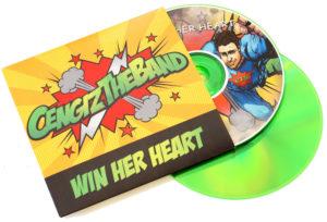 Colourful green base CDs in pop art style superhero CD wallets