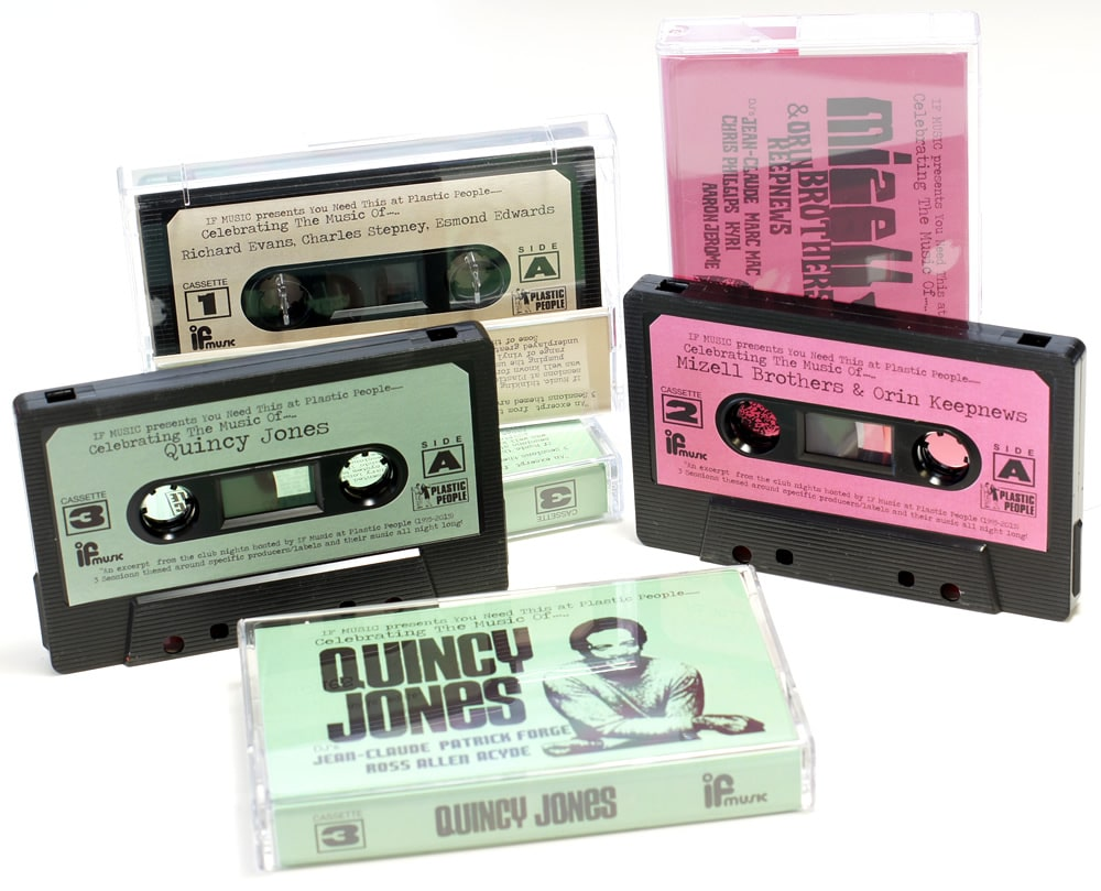 A set of black cassettes with green, pink and cream labels with a selection of music played at Plastic People