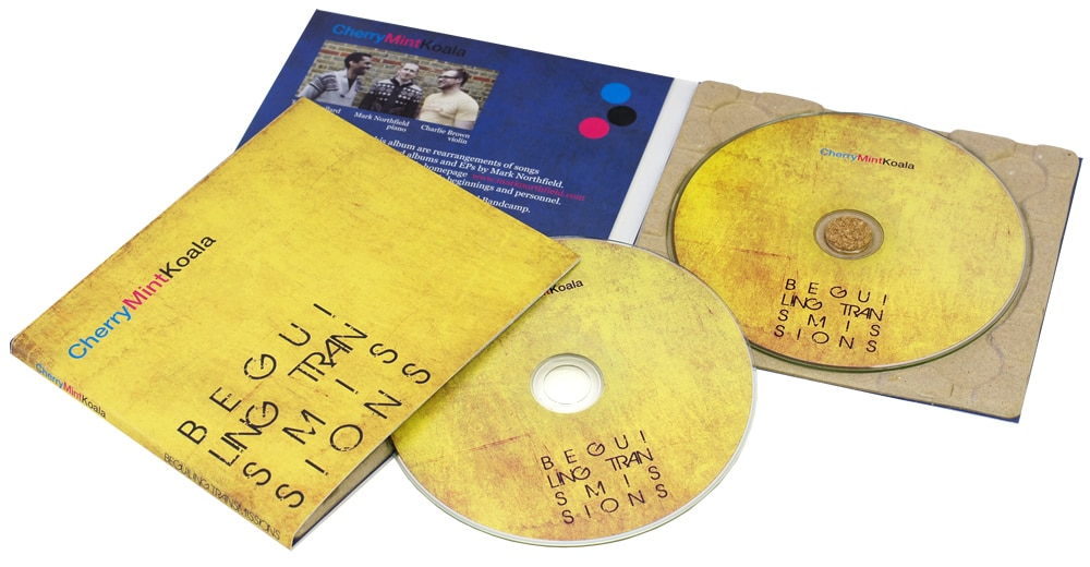 4 page Eco recycled digipaks with a recycled card disc tray, cork disc stud and litho printed discs