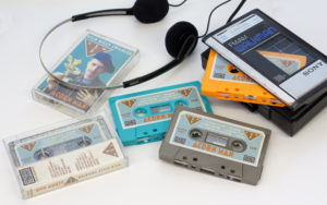 Cocoa brown, turquoise, tangerine and glitter cassettes, produced for Wild Billy Childish & CTMF