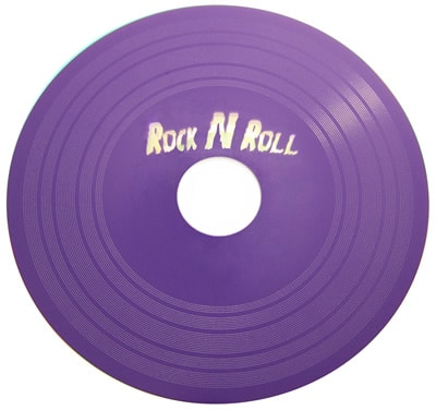 Vinyl DVD printed in a custom Pantone purple colour