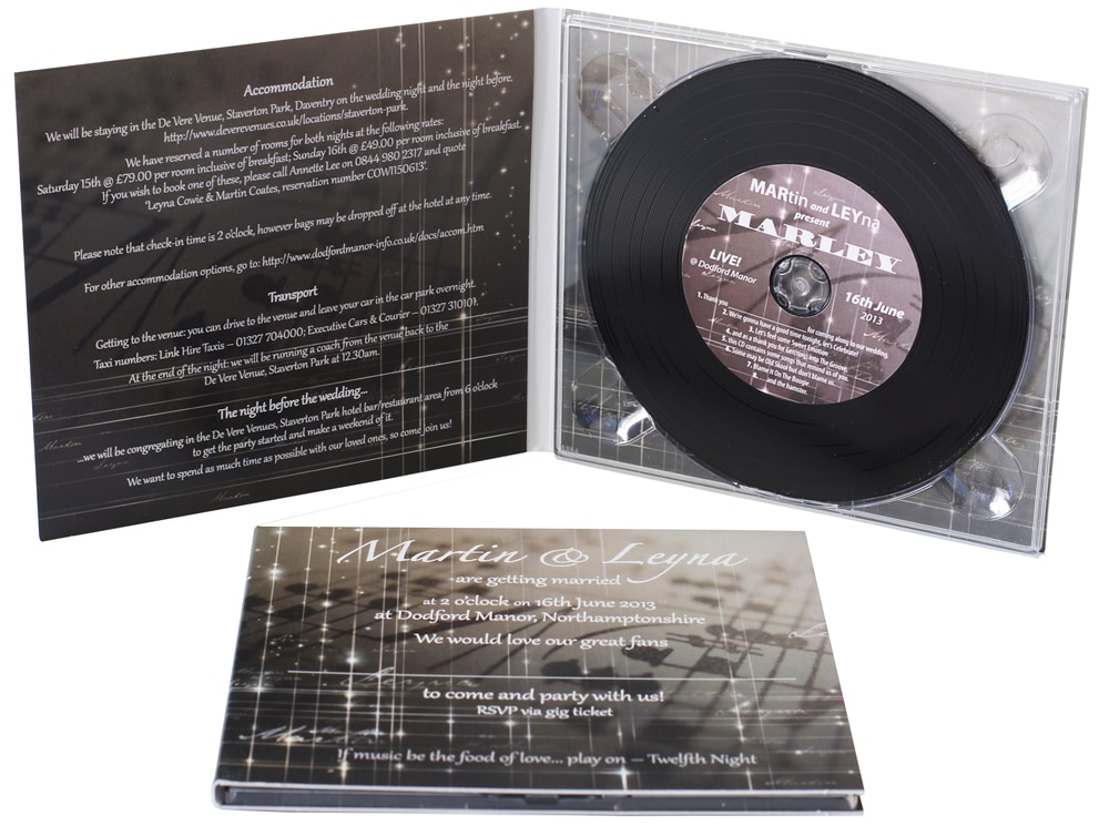 Black vinyl CDs in printed card 4 page digipaks