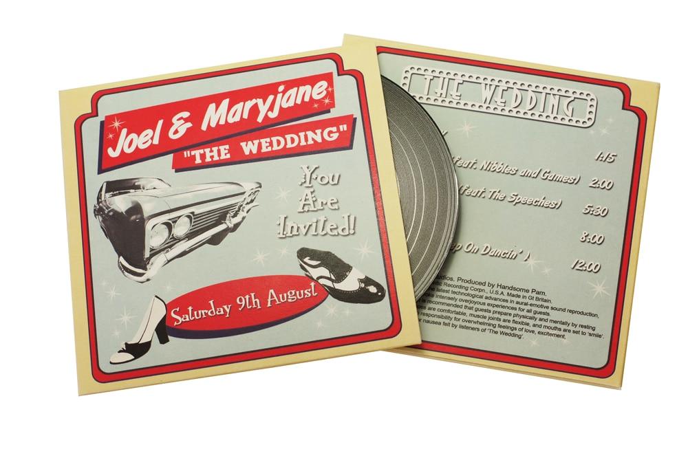 Wedding vinyl CDs in solid printed wallets