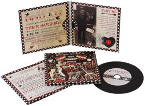 Vinyl CDs in 4 page wallets with an 8 page booklet