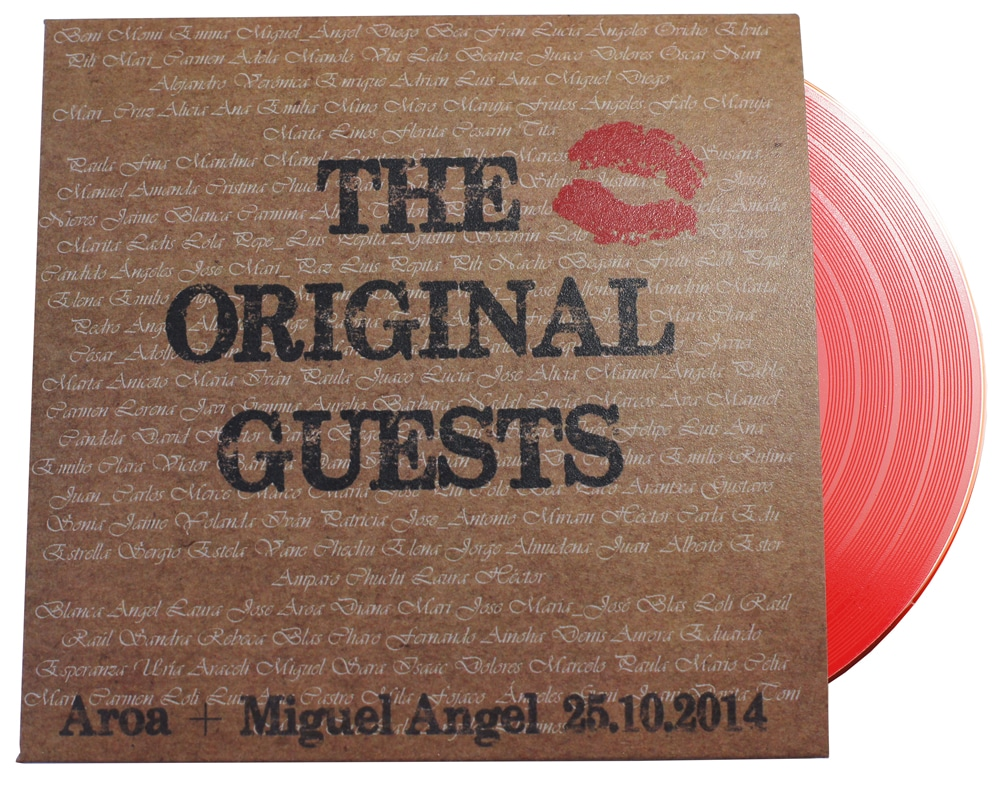 Red vinyl disc in printed recycled card wallets