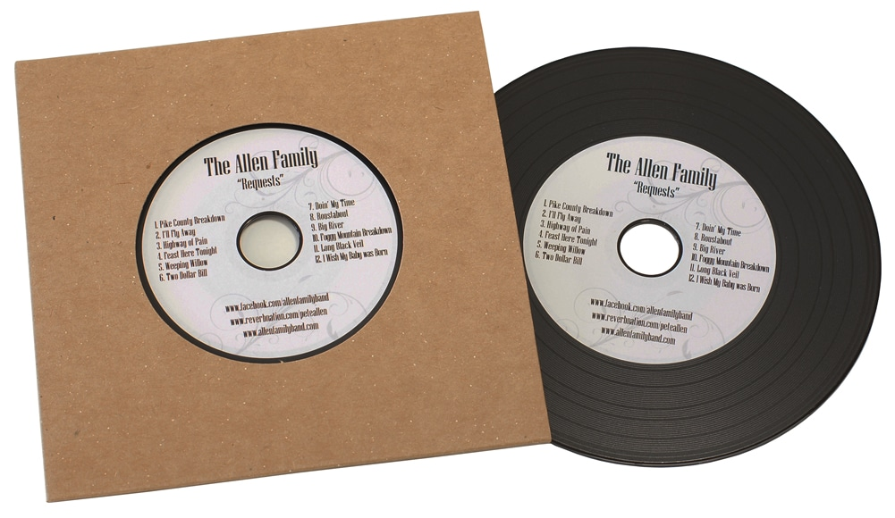 Vinyl CDs in plain manila record-style card wallets