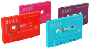 A set of four different cassettes with white on-body printing