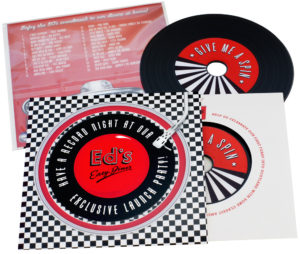 Premium Vinyl CDs with printed inner wallets and larger outer wallets, finished with a cellophane wrap