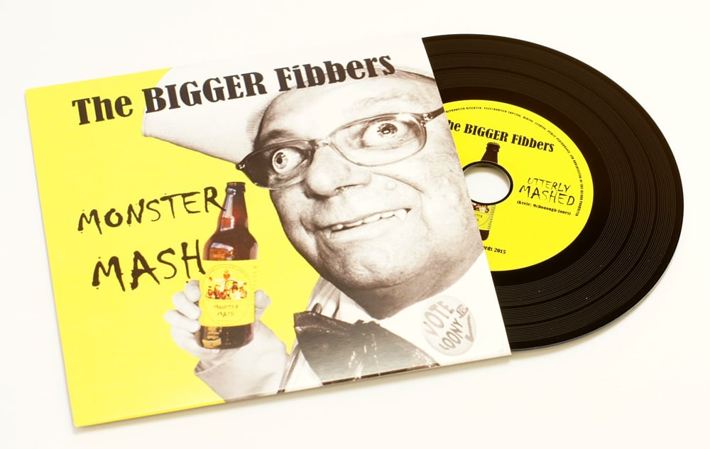 Black vinyl CDs produced for an excellent 'Monster Mash' remix, the Official Monster Raving Loony Party's general election 2015 campaign song