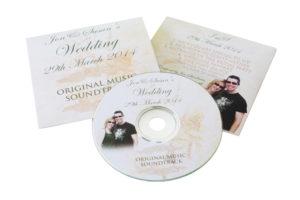 Wedding CDs in printed card wallets