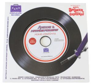 Black vinyl CD in record-style printed wallet