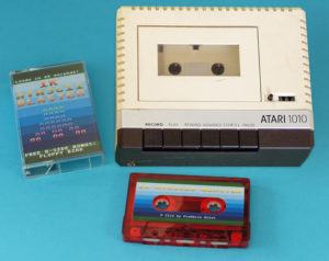 Transparent red cassettes produced for a new Atari 8-bit computer game