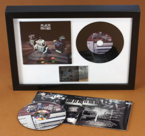 A4 black frame with 4 page printed gloss wallet, vinyl CD and printed plaque