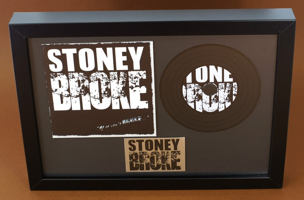 A4 black frame with oversized premium gloss laminated wallet, vinyl CD and printed plaque