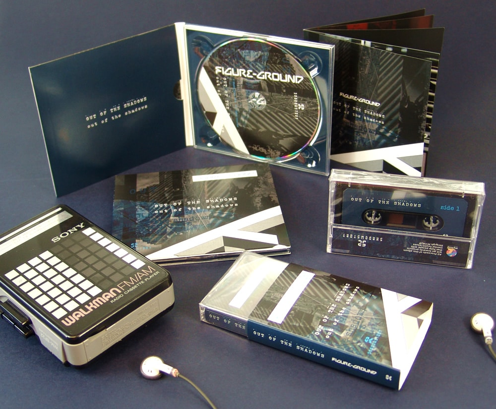 A four page digipak and matching cassette in clear case with outer O-card