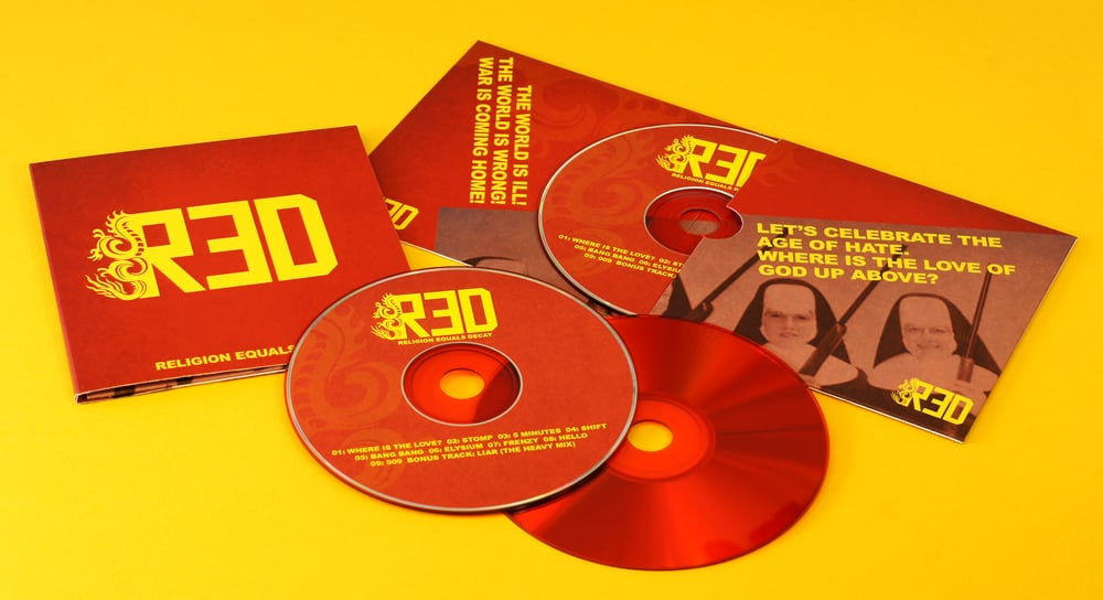 4 page matt laminated CD wallets with 4/4 printing and gloss red base 12cm CDs