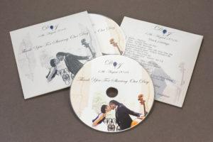 Wedding CDs in metallic lustre card wallets