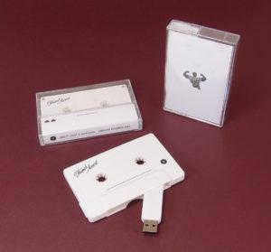 White USB cassette memory sticks