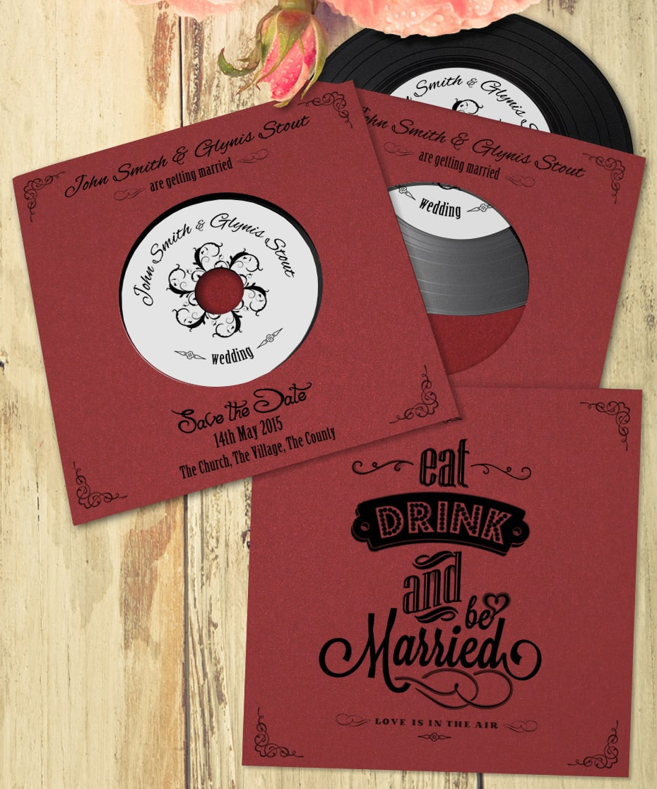 Custom wedding CDs - design 1 - eat, drink, married - Band CDs