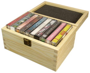 Wooden cassette tape box set for five audio cassettes