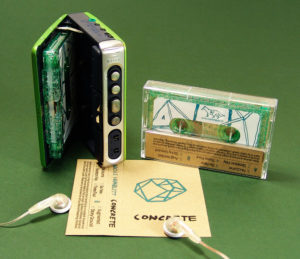 Brown Manila recycled card J-card with green glitter cassettes