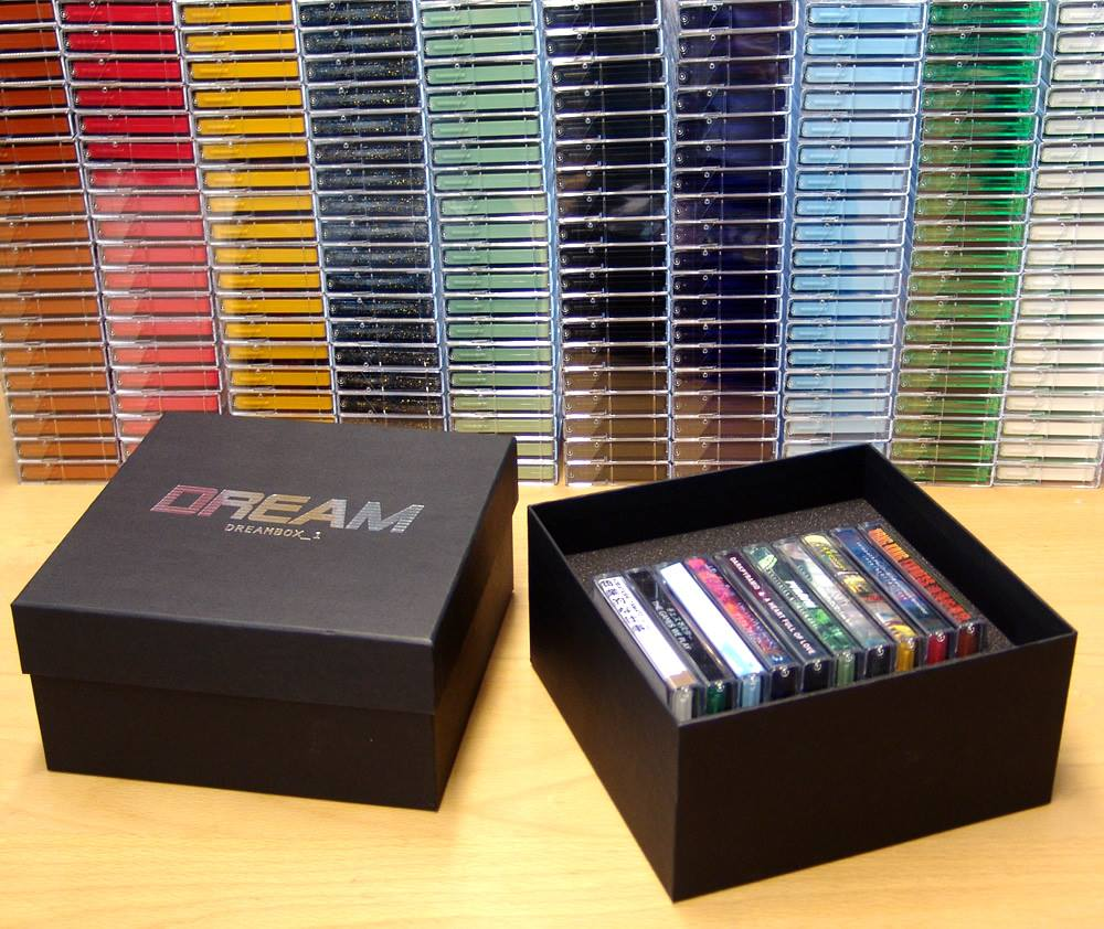 Dream Catalogue ten cassette tape boxset with silver foil lid printing