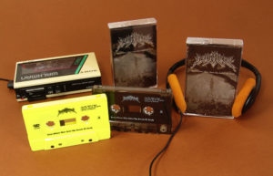 Neon yellow and smokey clear audio cassettes with on-body printing