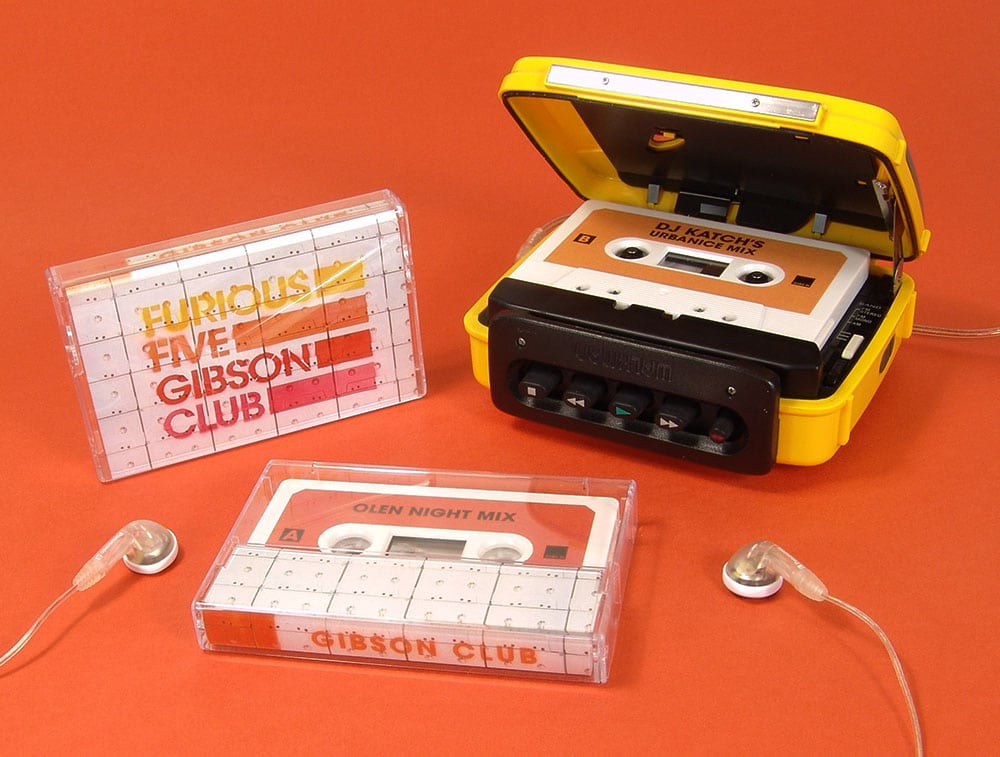 Furious Five Gibson Club white cassettes in cases with J-cards and stickers