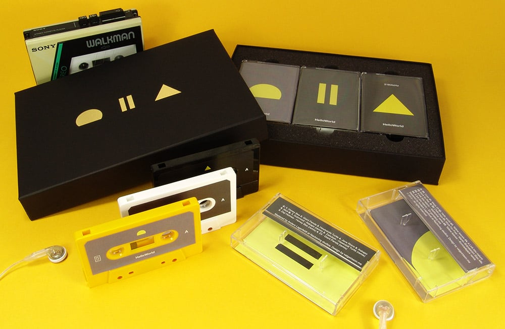 Triple cassette tape box set with gold foil lid printing