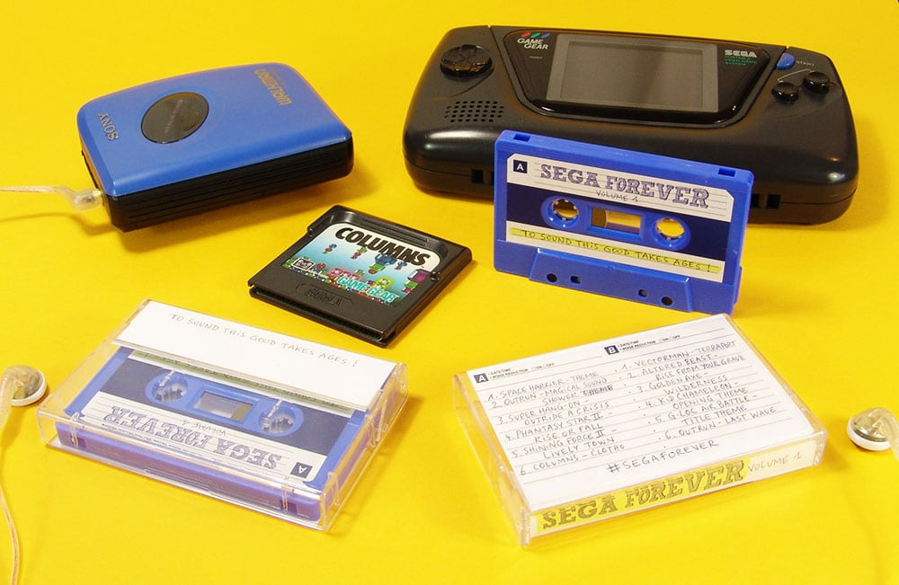 Sega Forever cassette tapes using our Sharmi blue shells and sticker printing