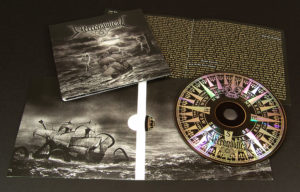 CDs with black on-body printing directly onto the silver surface in 4 page printed card wallets with booklets