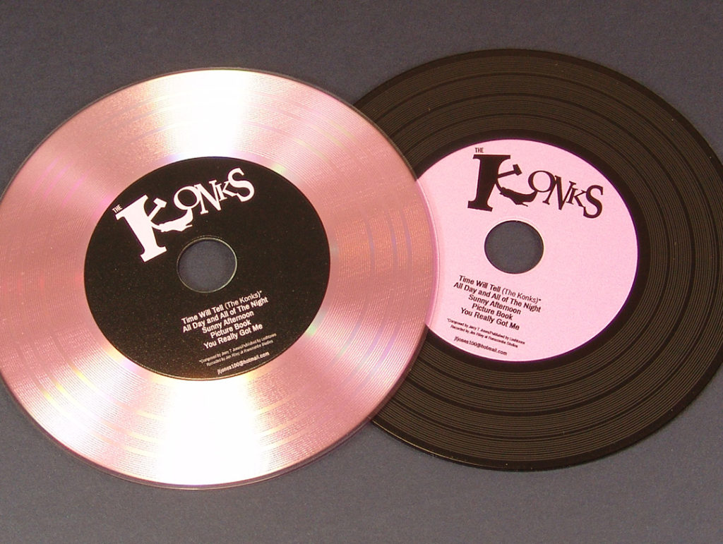 Custom pink vinyl discs and standard black vinyl discs