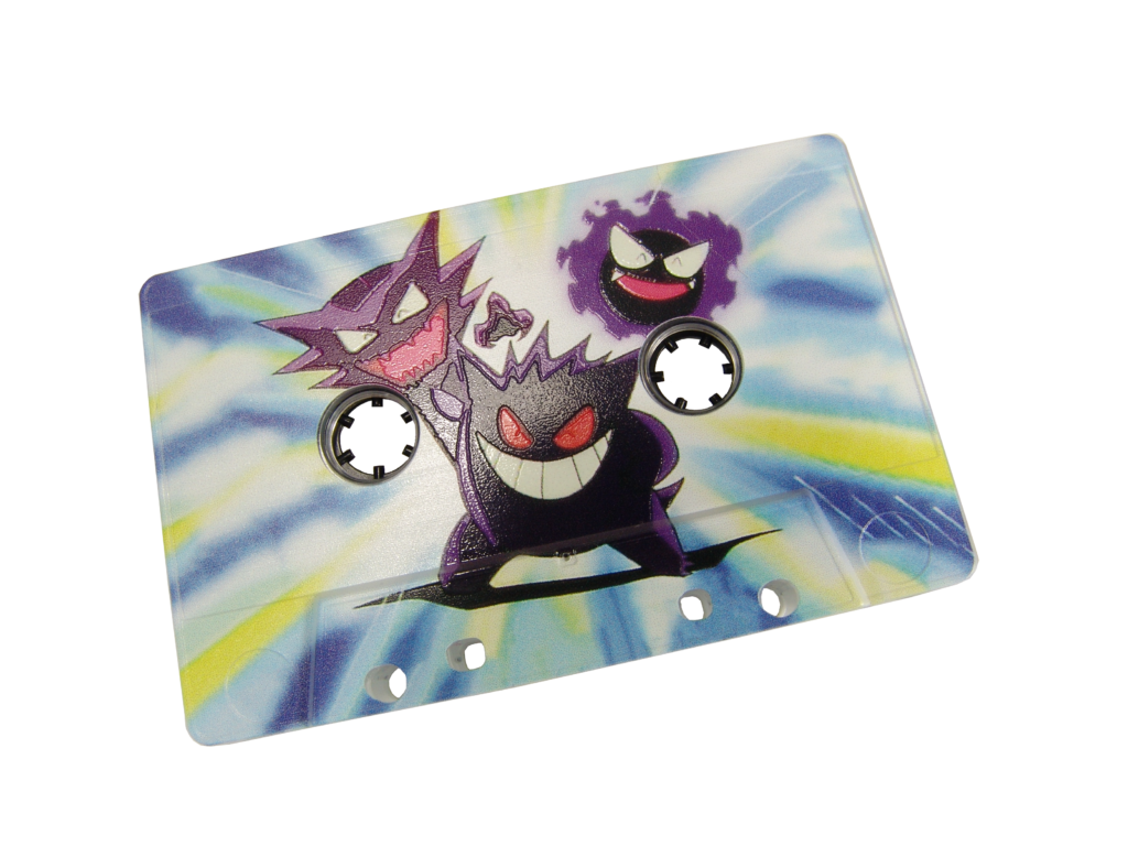 Clear cassette with a full coverage print using a white base, with spot gloss lacquer on the Pokemon to make them shiny