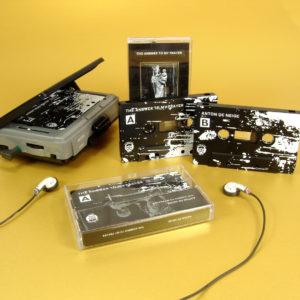 Black cassette tapes with white full coverage 'splatter' style printing