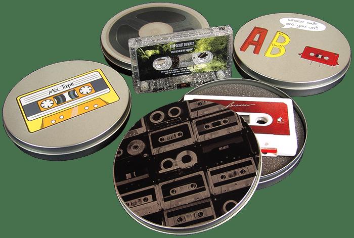 Cassette tape metal circular tins