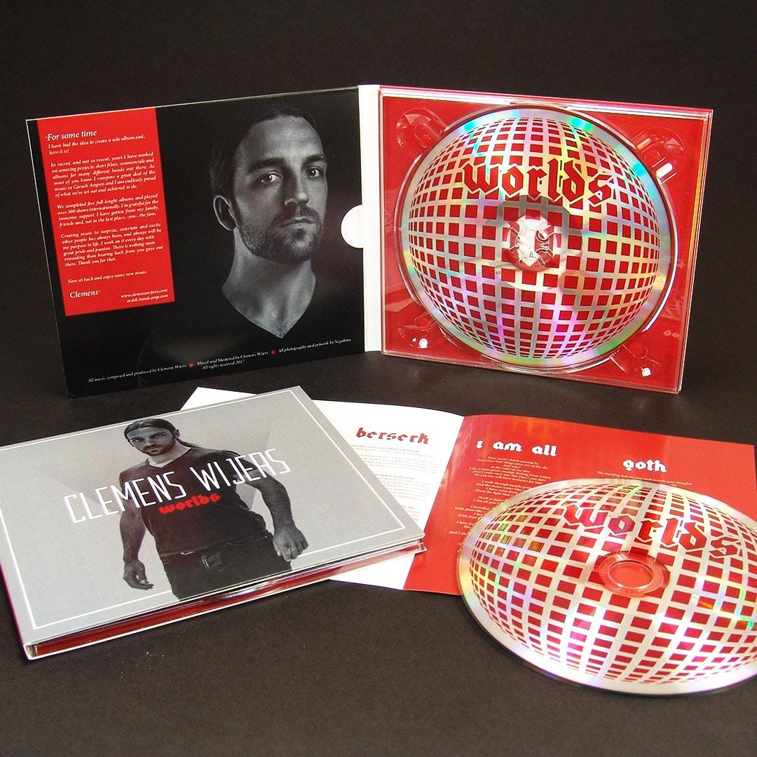 Four page CD digipaks with booklets and UV LED printed discs directly onto the silver disc base
