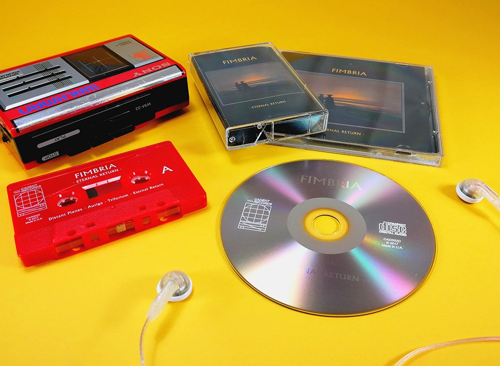 UV LED on-body printed CDs and cassette tapes